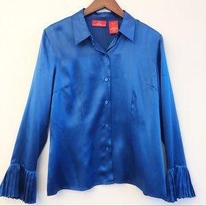 OSCAR DE LA RENTA Silk Pleated Cuff Blouse SZ 10